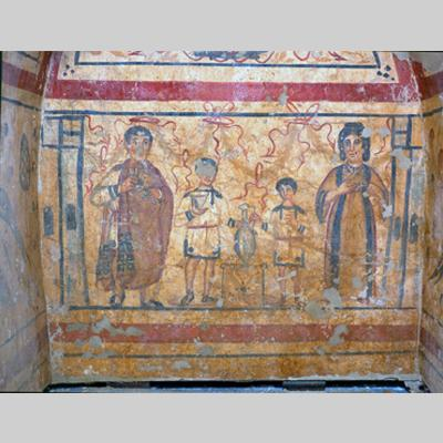 Wall painting with a scene of family worship