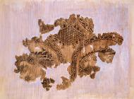 Fragment of silk and gold textile, found in a tomb in the Saint Achillius basilica, on the small island of Lake Prespa. A rare and important archeological find, dated to the 10th-11th c. Its decorative pattern, featuring a series of medallions inside which birds, possibly eagles, are represented, is common in the decoration of the garments of powerful persons of the Byzantine world.