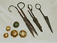 Buttons and scissors, 8th-12th c. The remains have been found inside the castles of facilities attesting the activities of potters, ironsmiths, tanners, weavers, and other artisans. The workshops were usually on the ground floor of the houses, which were small, two-storey structures