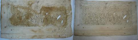 The reverse side of the engraving ΒΧΕΙ 44 before (left) and after wet cleaning (right).