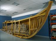 A replica of the hull of a Byzantine ship was constructed, inside which the amphoras were stacked one on top of another, exactly as they would have been stacked in the hold of a commercial ship in antiquity