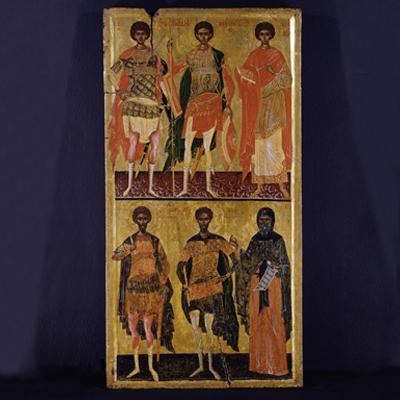 Saints George, Demetrius, Panteleimon, Theodore the Stratelates (the General) and Saint Theodore Tiron, Hosios Antonios