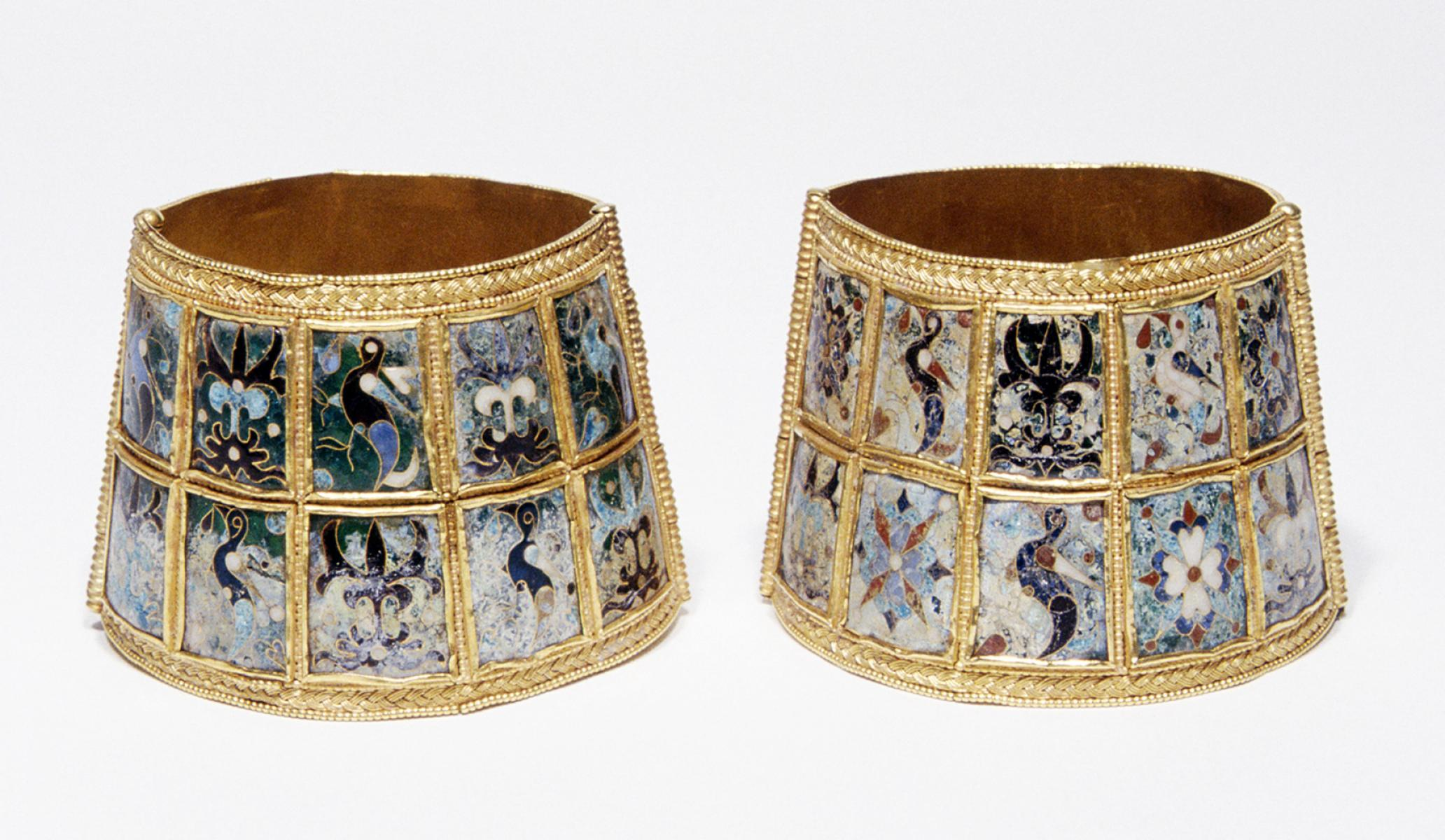 Gold bracelets with enamel decoration