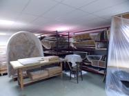 General view of the storeroom of mural paintings and mural paintings in portable supports.